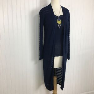 2 for $10 APT 9 long open front cardigan blue M